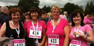 Staff from Hingleys Chemist at Hollymoor Medical Centre after completing the Race for Life