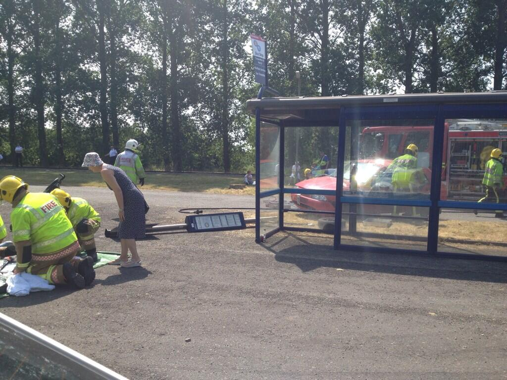 Casualties at a scenario where a drink driver crashed into a bus stop. Pic @ST_Police on Twitter