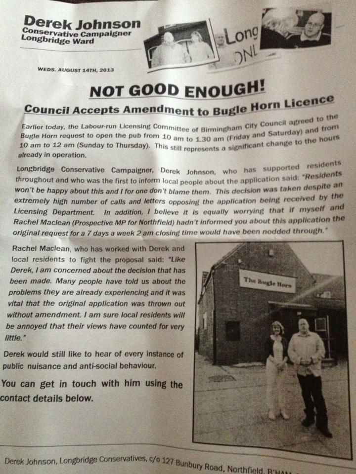 The Conservative leaflet which sparked disagreement between local politicians