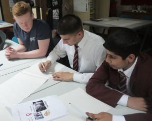 Kings Heath Boys' pupils work alongside a Cadbury College students at the 3D workshop
