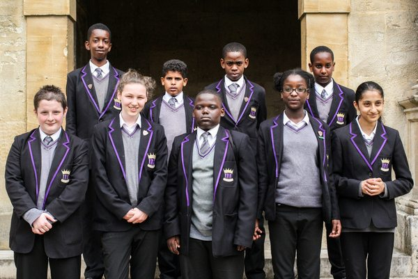 Group photograph of ARK Kings Academy students at Wadham College, University of Oxford