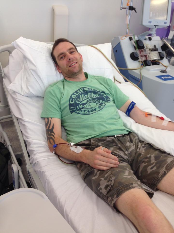 In hospital, donating stem cells!