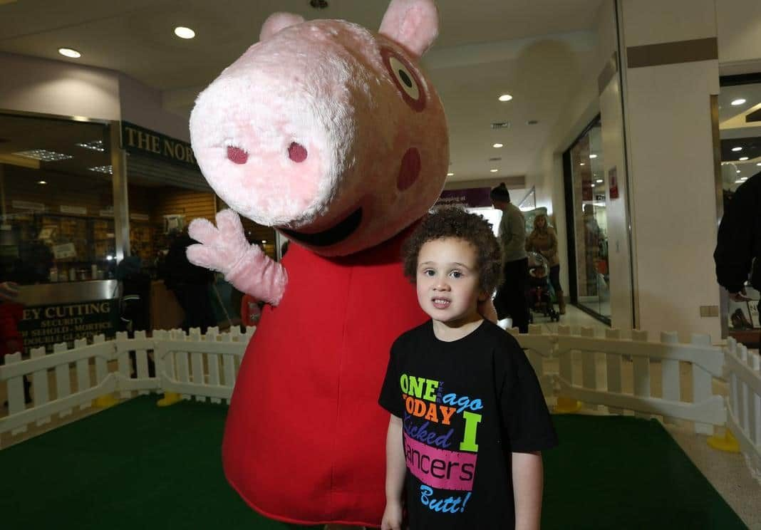 Four-year-old Persian Bristoll from King's Norton celebrates being cancer-free for a year by meeting Peppa Pig at Northfield Shopping Centre