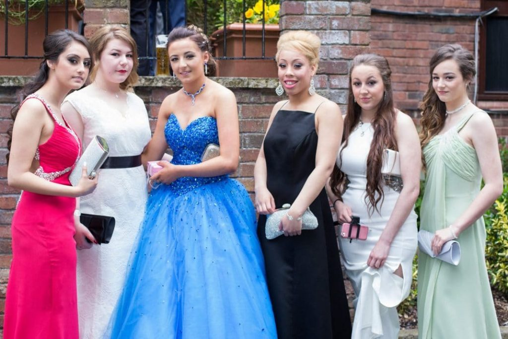 Year 11 girls pose for a photograph at their leavers' prom. Left to right: Sophia, Isla, Taekia, Katie and Channon