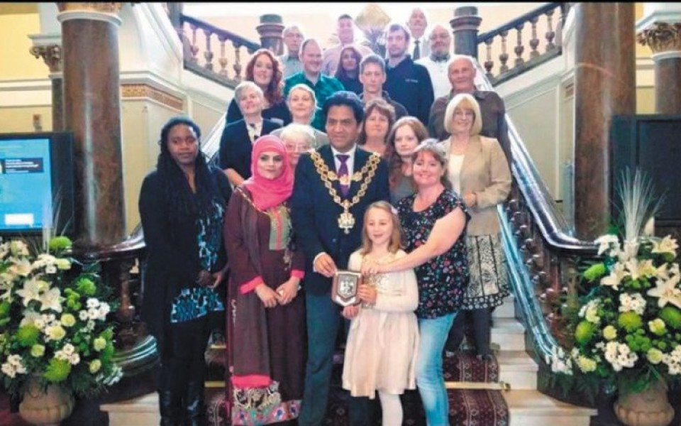 Gemma Cartwright & some of the local Pride of Longbridge volunteers have tea with the Lord Mayor | Photo courtesy Bromsgrove Standard