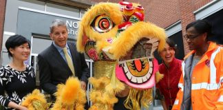 A Chinese lion will lead the way to good fortune for businesses at Northfield Shopping Centre as part of the town's cultural celebrations. From left, Li Feng, Pete Barber, Northfield centre manager, Sue Yeng, Fay Yeng, Marcia Greenwood, BID manager.