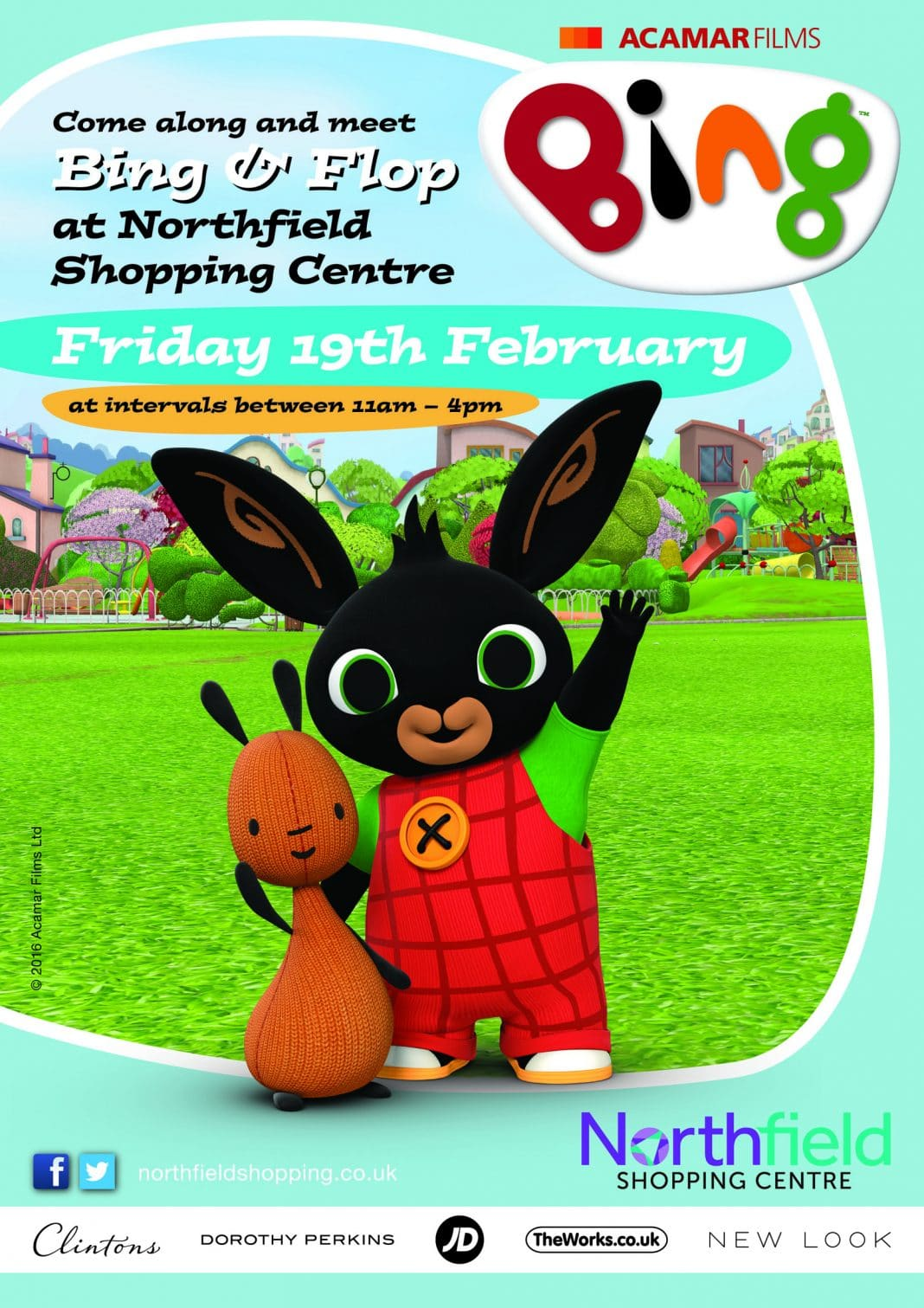 Children's favourites Bing and Flop, who will appearing at Northfield Shopping Centre on Friday February 19 at intervals between 11am to 4pm