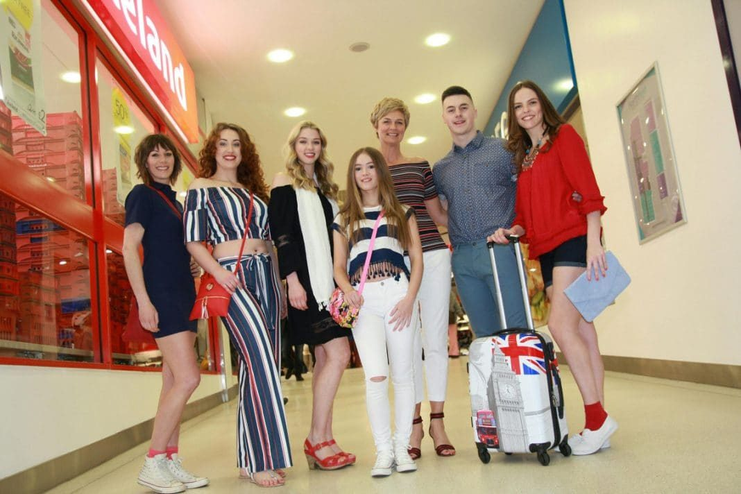 Models at Fashion on the move, from left, Heidi Messias, Stephy Lloyd, Chloe Ives, Leah Hickman, Sally Mansell, Jordan Blakewell and Charlotte Burton