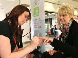 Kim Dalton First in the queue was Kim Dalton from Selly Oak, who enjoyed a manicure by student Claire Barley. Kim, a store assistant at Ponden Mill at the centre, had her nails painted metallic green with green glitter.