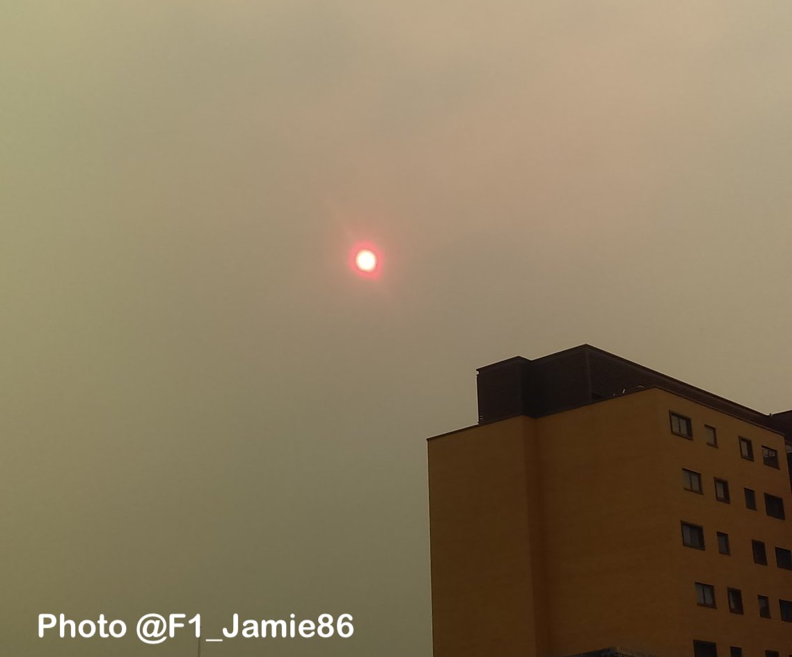 Hurricane Ophelia causes haunting red sun effect across Nottinghamshire