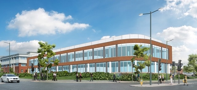 CGI of a two storey office building on the corner of Devon Way and Longbridge Lane in Longbridge. The building is modern, of red brick, with large almost full length windows to both floors. The corner of the building is curved