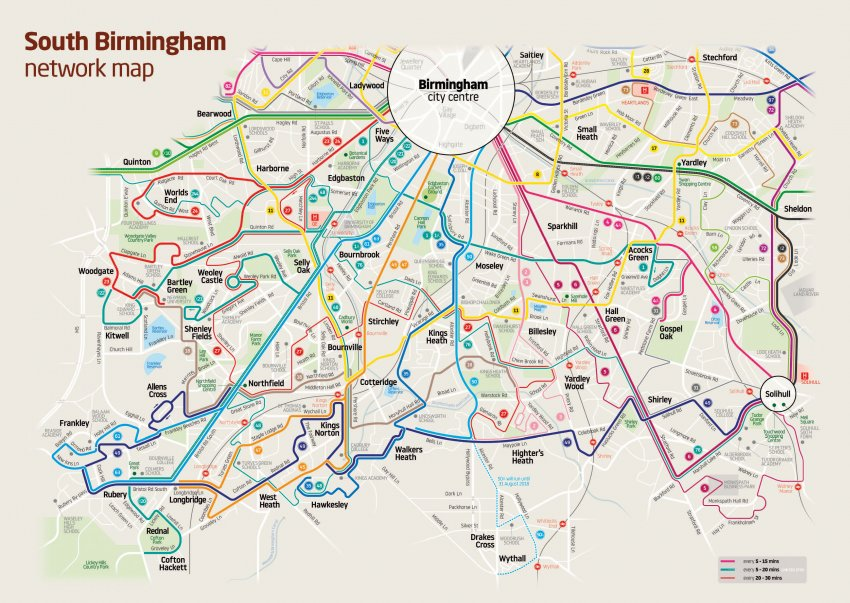 map of new South Birmingham bus network