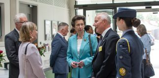 HRH THe Princess Royal speaks with John Crabtree OBE and Sense CEO Gill Morbey at TouchBase