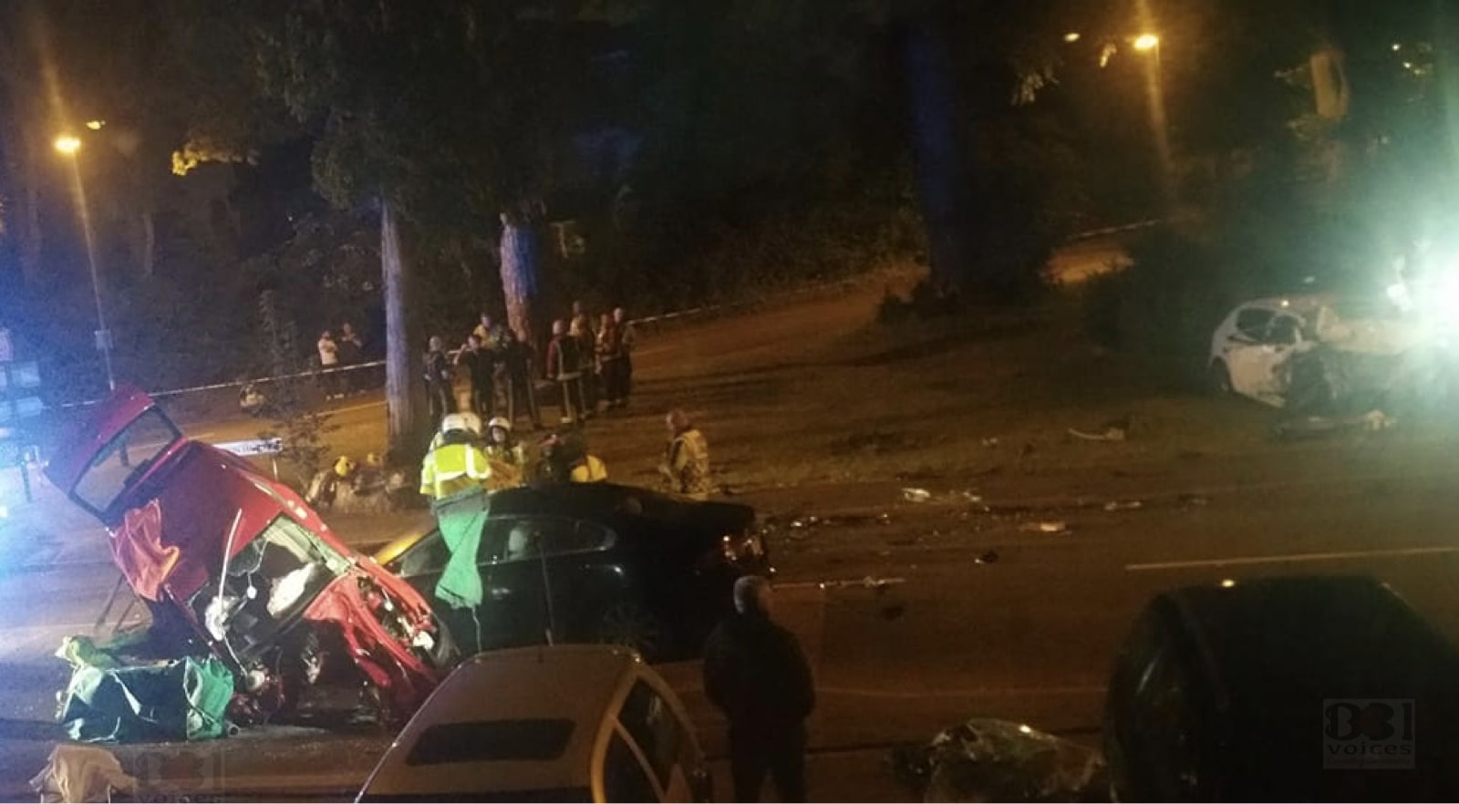 Four injured as car being pursued by police involved in