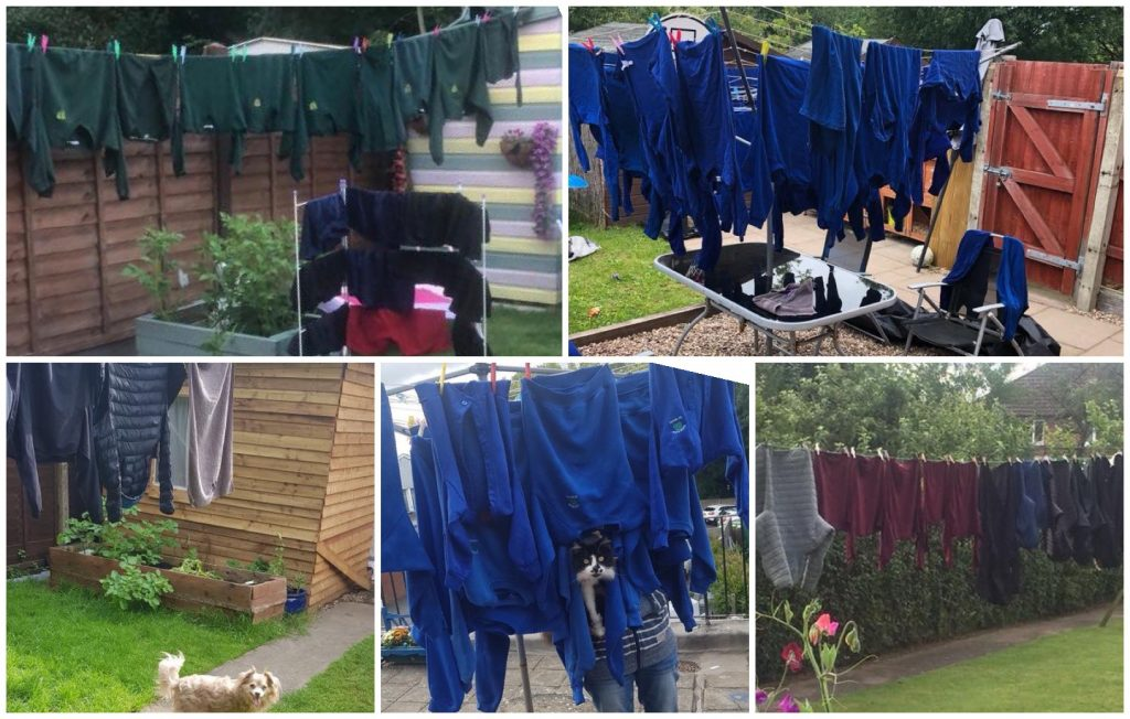 Washing lines full of school uniforms in five different gardens